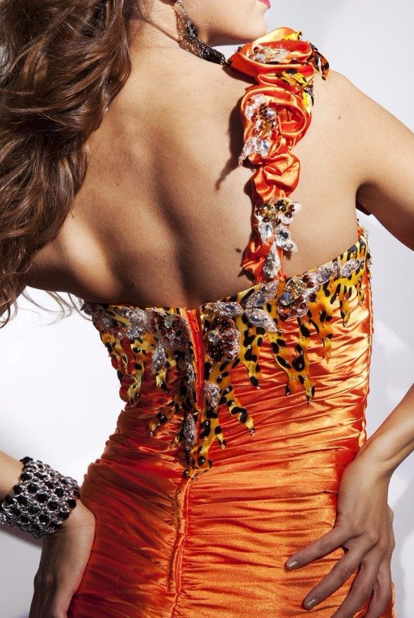 Tony Bowls 112712 One-shoulder Fire Cheetah High Slit Gown