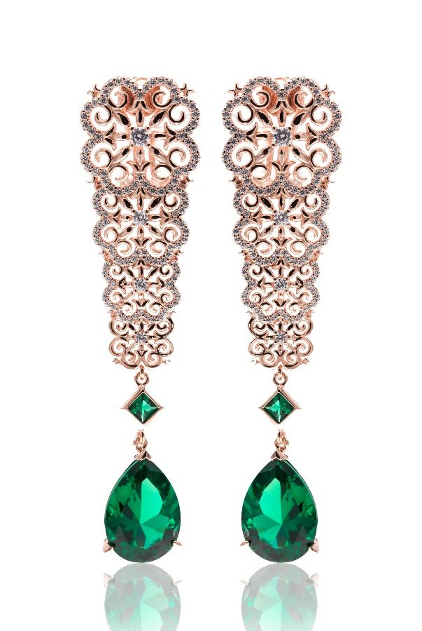 Sandugash Gallo RAMINA Rose  Gold  Drop Earrings  with Nano Glass
