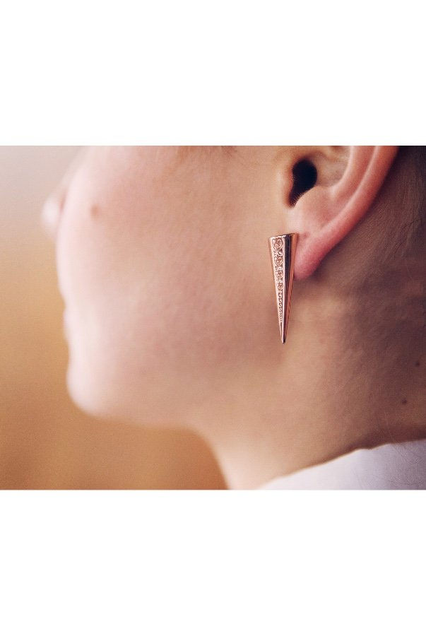 Sandugash Gallo Geometric  Rose Gold  Triangle Stud Earrings