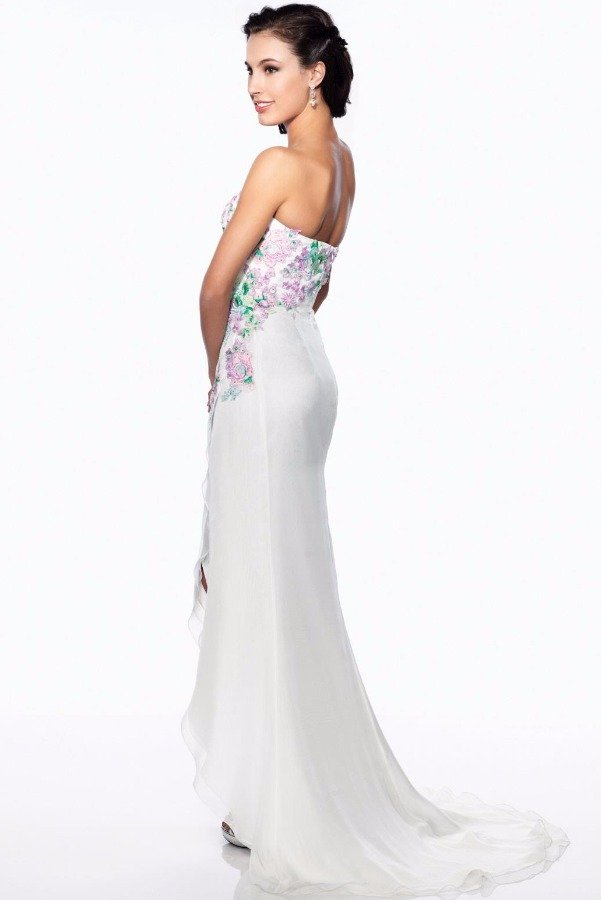 Le Gala by Mon Cheri Strapless Floral Embroidered Silk Gown Purple