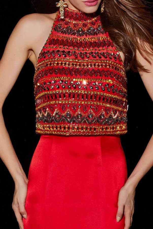 Angela and Alison Beaded Crop Top Red Evening Gown Dress