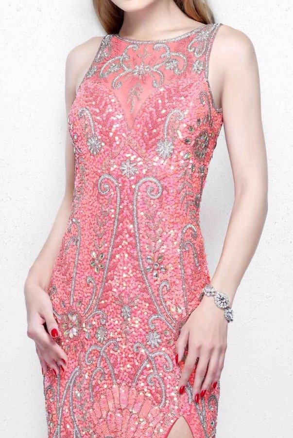 Primavera Couture 1808 Open Back Beaded Coral Pink Evening Gown