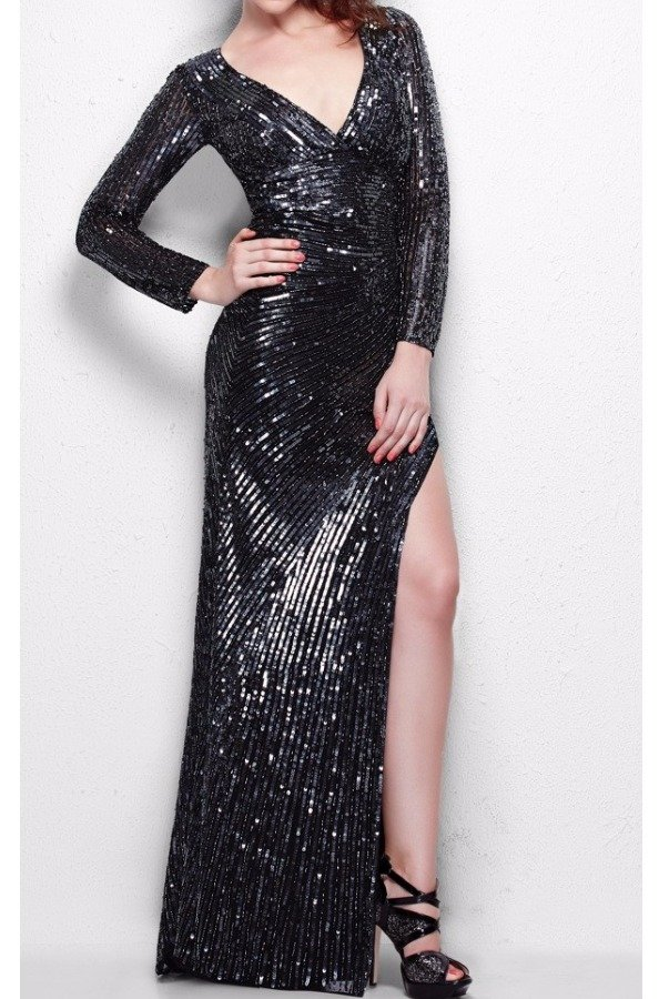 Primavera Couture Long Sleeve Sequin Evening Gown Black Gunmetal