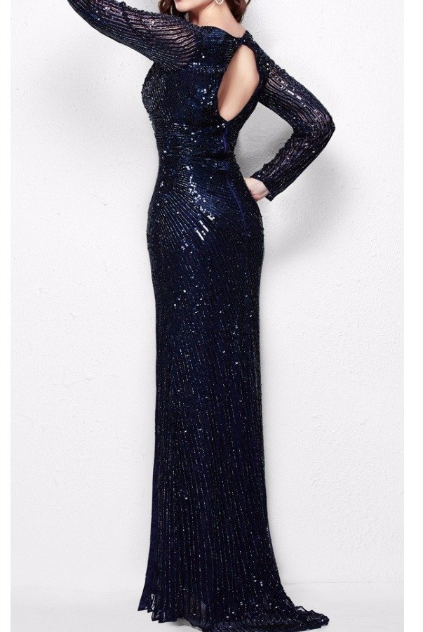 Primavera Couture 9924 Navy Blue Long Sleeve Sequin Evening Gown
