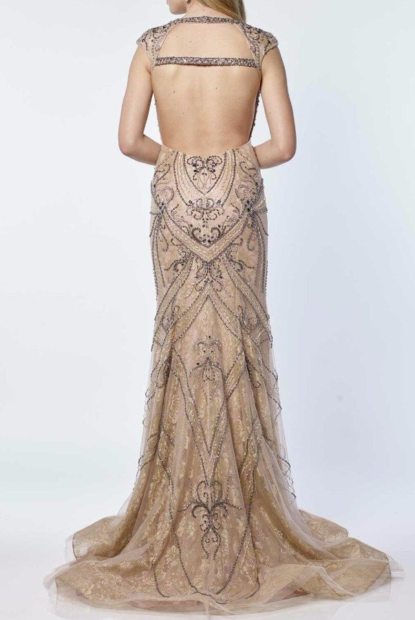 Alyce Paris Champagne Beaded Illusion Evening Gown 6714