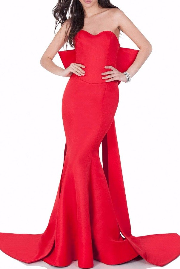 Terani  Red Strapless Sleek Evening Gown with a Bow