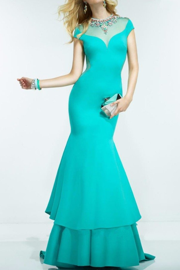 Alyce Paris Cap Sleeve Sheer Beaded Jade Mermaid Evening Gown