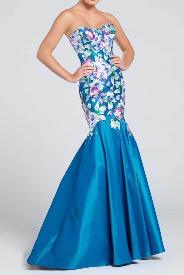 Ellie Wilde Strapless Floral Gown Flounce in Teal EW117021
