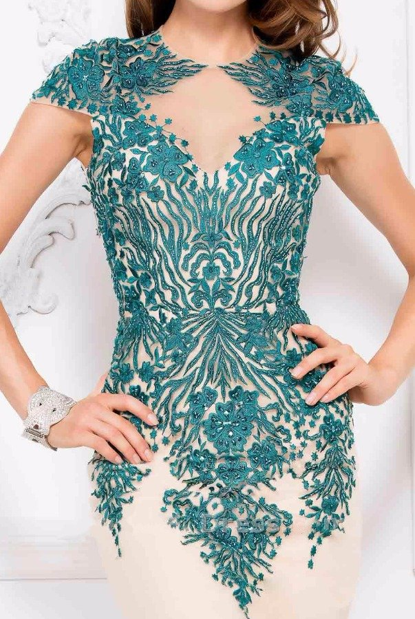 Lucci Lu 3044 Illusion flower applique nude teal gown dress