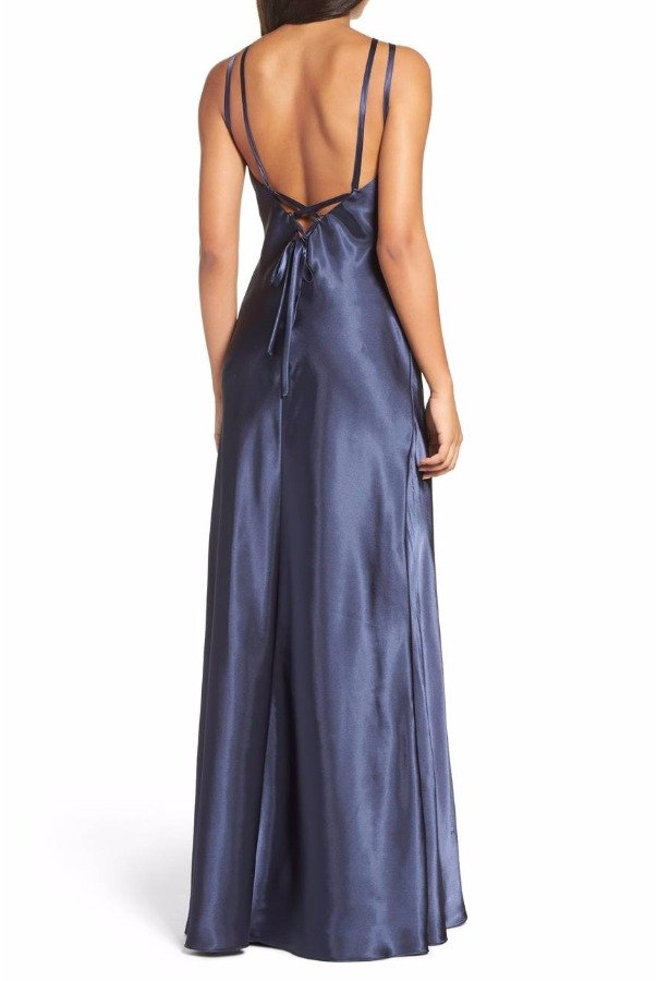 Xscape Navy Blue Charmeuse Gown