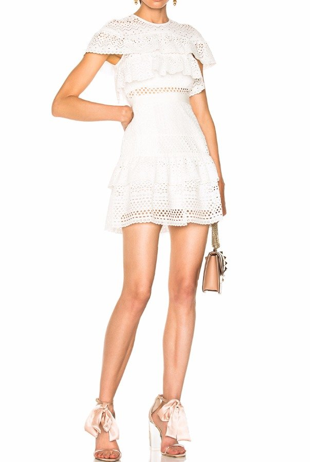 Self Portrait Floral Broderie Mini Dress White 0