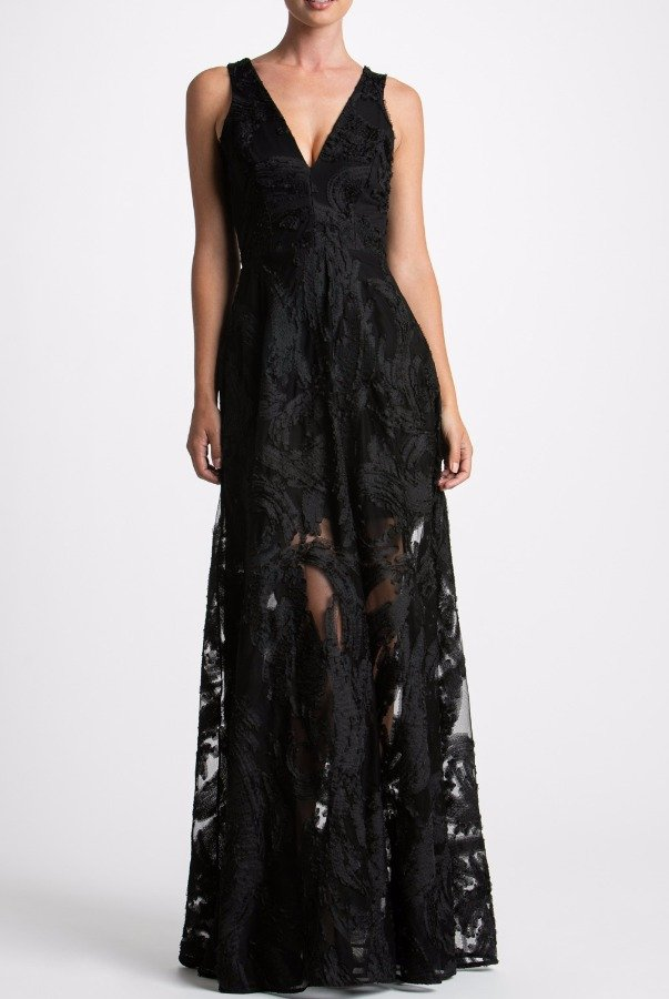 Dress The Population Black Embroidered Lace Deep V Neck Marlene Gown