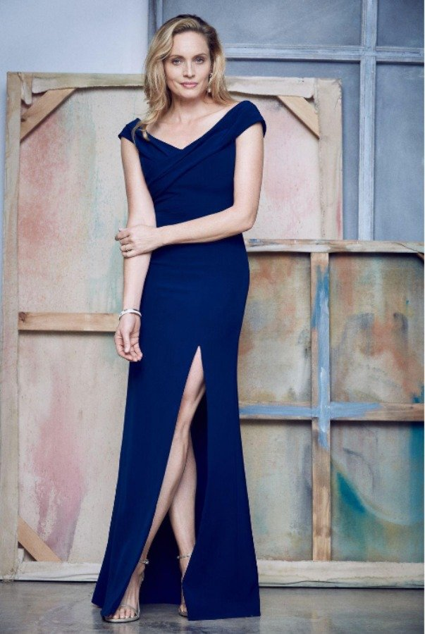 Aidan Mattox  Blue Cold-shoulder Crossover Gown