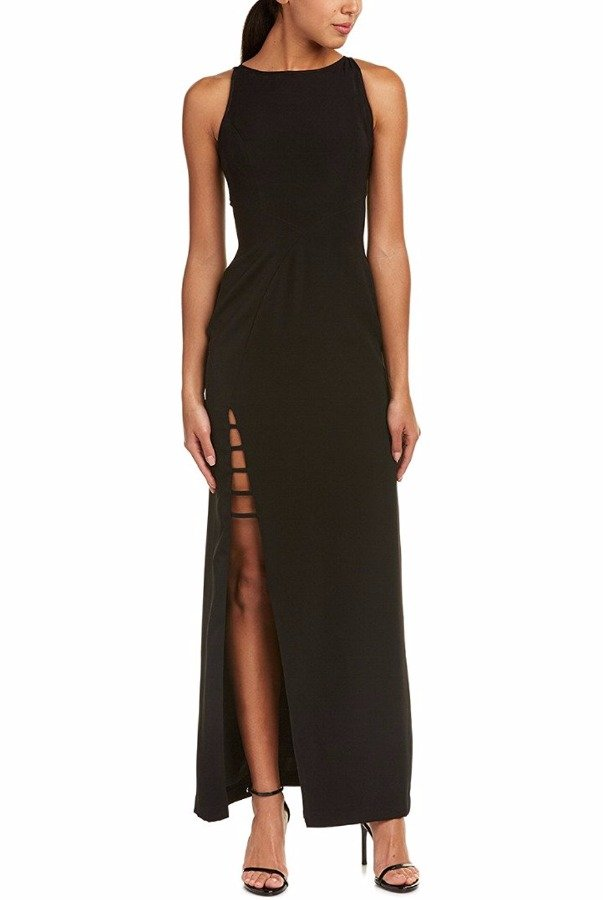 Aidan Mattox  Black halter gown with high slit detail