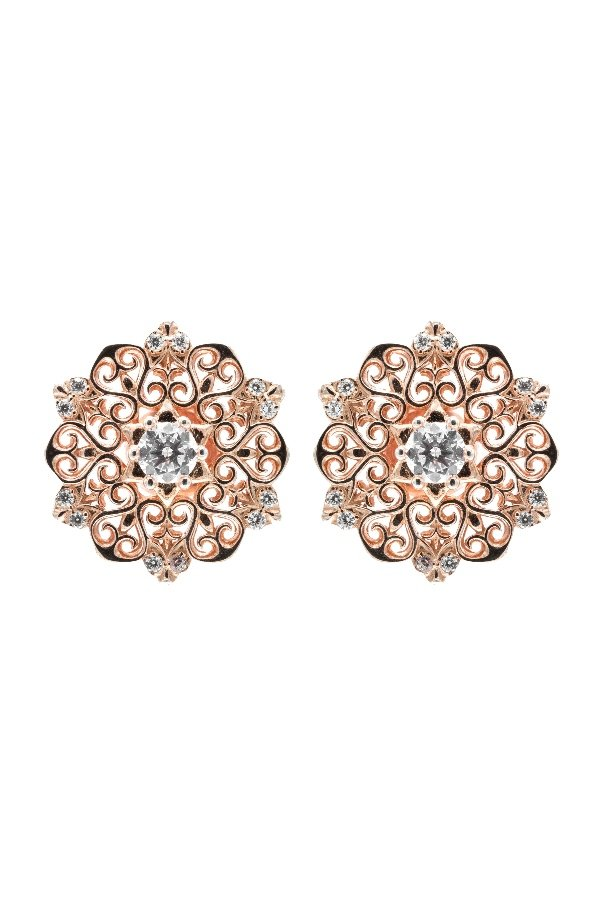 Sandugash Gallo ALIYA Rose Gold Earrings Spiral Ornamental Pattern