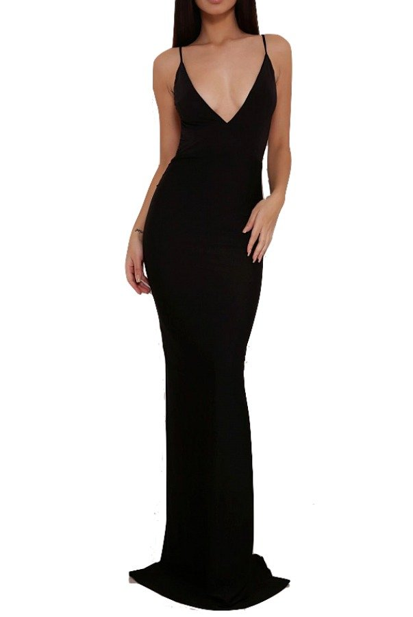 Abyss by Abby Celine Midnight Black Gown Open Back