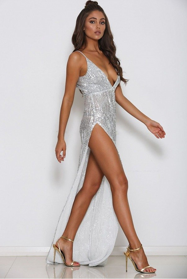 Abyss by Abby Beverly Silver sequin dress high slit evening gown