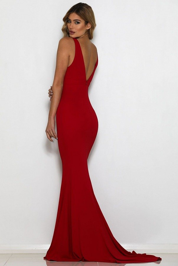 Abyss by Abby Natalijia Fire Red Gown Open Back Evening dress