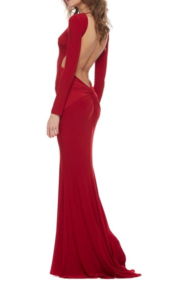Abyss by Abby Moet Red Long Sleeve Open Back Gown Evening dress