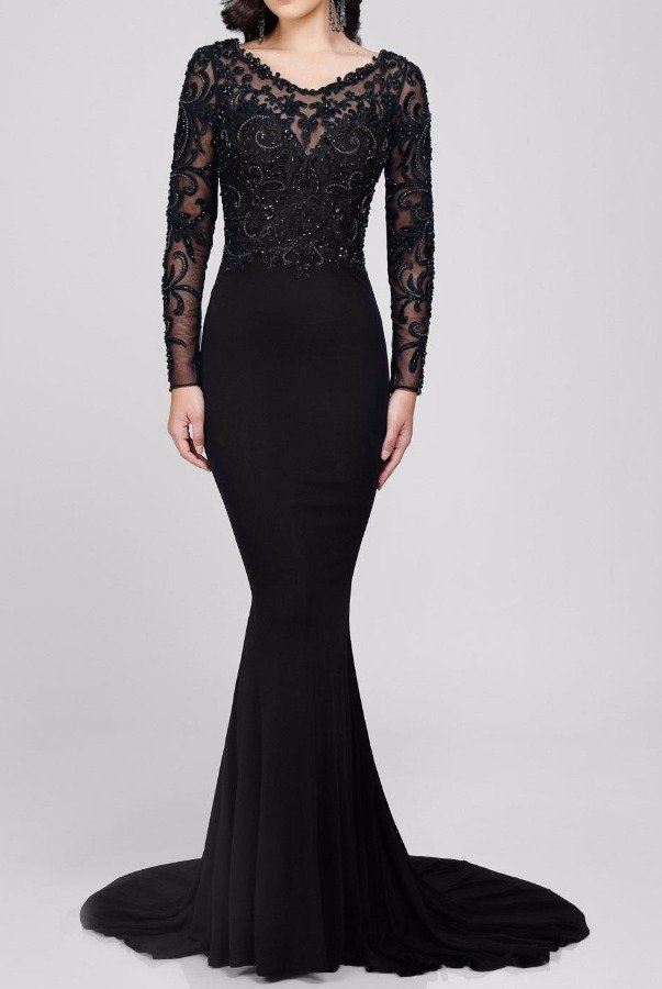 Terani Couture Sophisticated Long Sleeve Embellished Black Gown