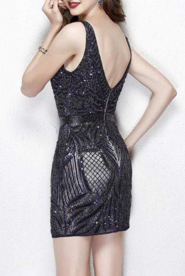 Primavera Couture 1905 Midnight V Neck Glittering Cocktail Dress NYE