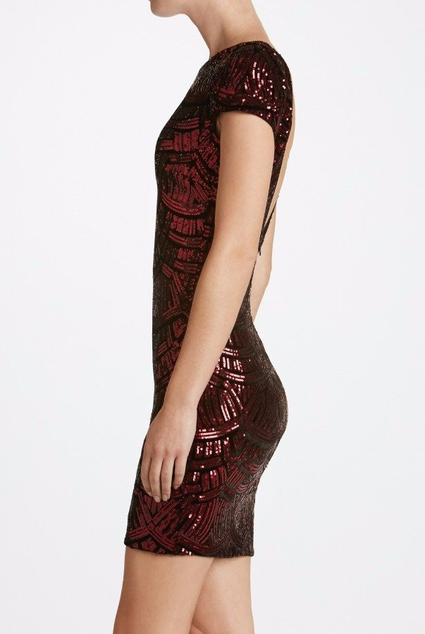 Dress The Population Tabitha Geometric Red Burgundi Sequin Mini Dress