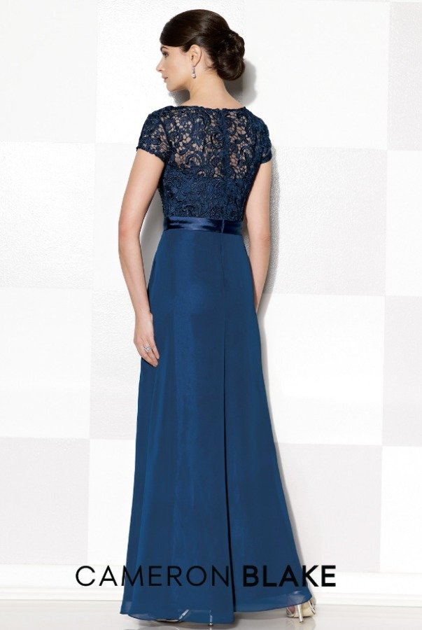 Mon Cheri Chiffon and lace sleeve A line illusion gown dress