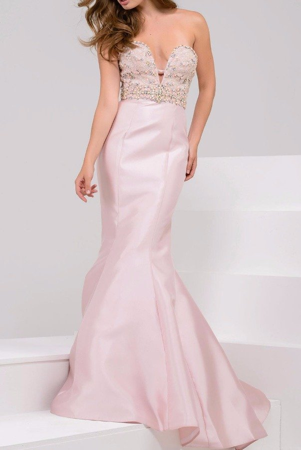 Jovani 21926 blush strapless evening gown jeweled details