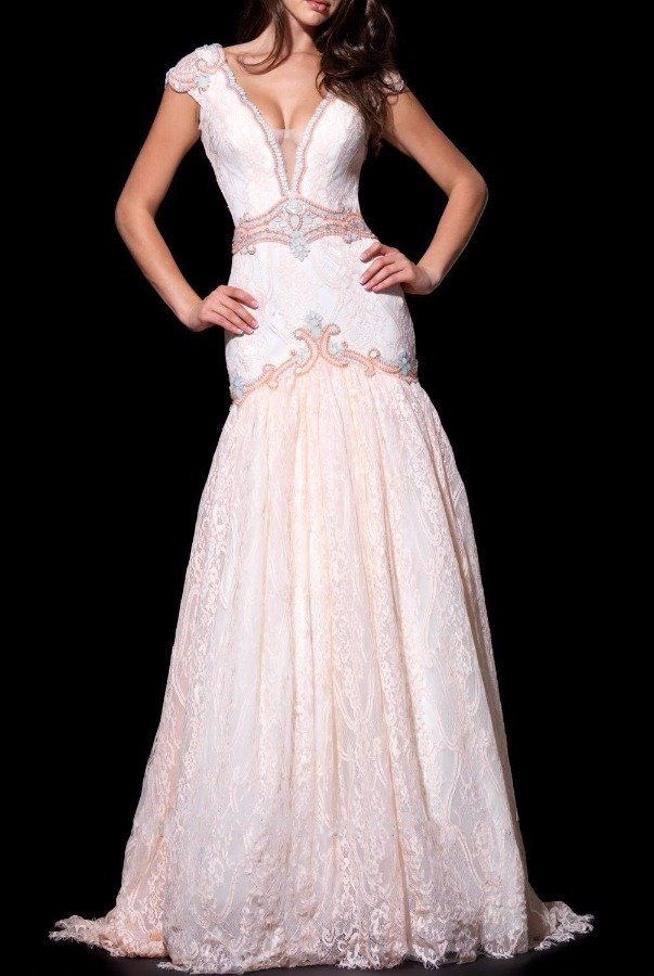 Angela and Alison 51072 V Neck Short Sleeved Gown Bridal Dress