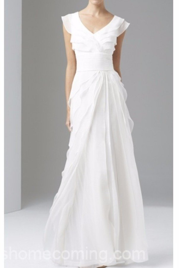 Adrianna Papell Tiered Silk Chiffon Wedding Gown Ivory White