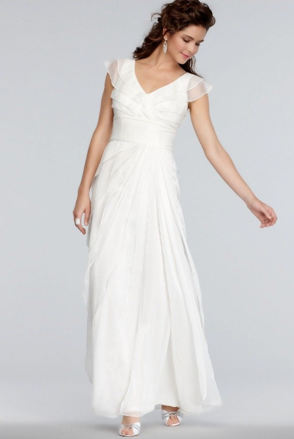 Adrianna Papell Tiered Silk Chiffon Wedding Gown Ivory White Poshare
