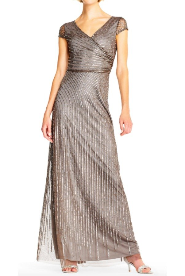 Adrianna Papell  Cap-Sleeve Beaded Wrap Front Gown