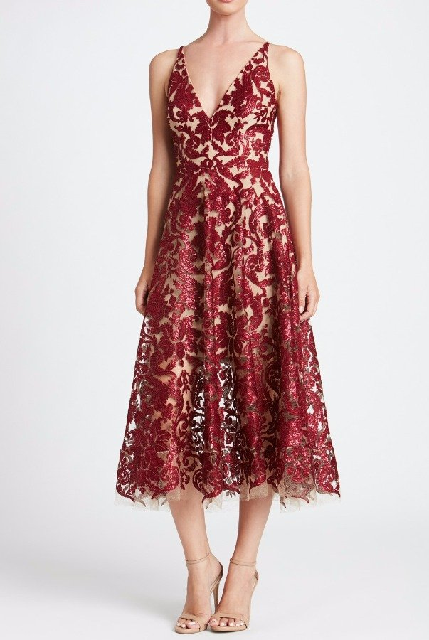 Dress The Population Blair Sequin Lace Dress in Midi Tea Length