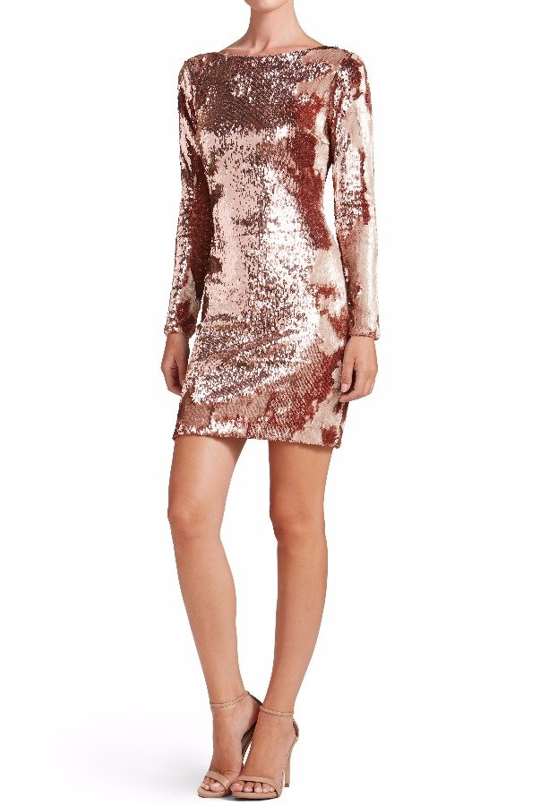 Dress The Population Lola Rose Gold Sequin Cocktail Dress Long Sleeved f85ae177a