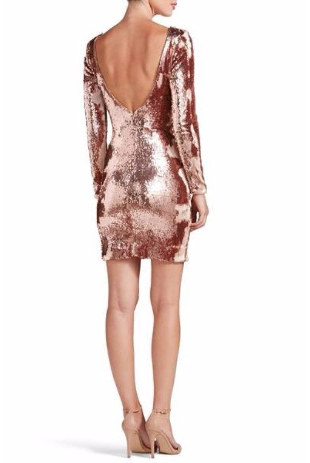 Dress The Population Lola Rose Gold Sequin Cocktail Dress Long Sleeved