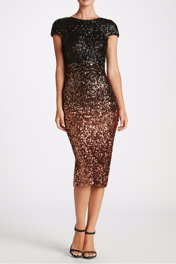 Dress The Population Marcella Black Gold Ombre Sequin Cocktail Dress