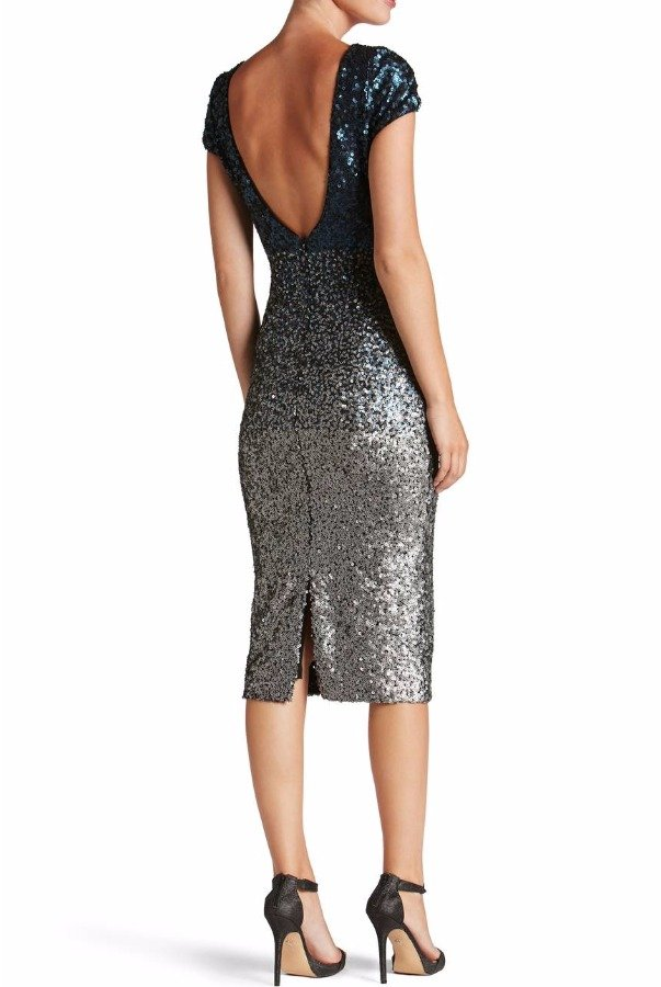 Dress The Population Marcella Navy Silver Ombre Sequin Midi Dress