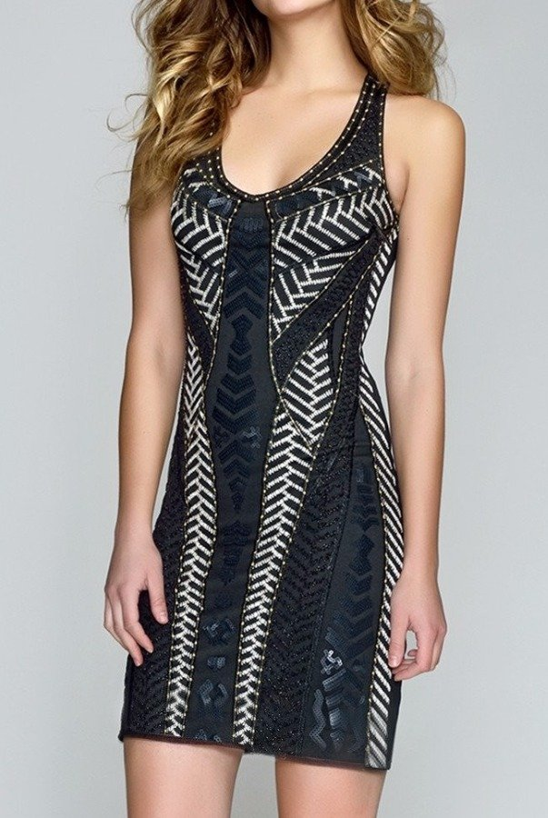 Val Stefani Stitched Sequin Party Black Cocktail Dress