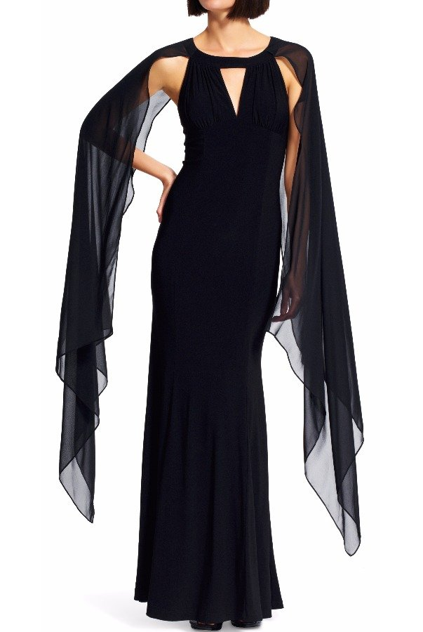 Adrianna Papell Black Chiffon Jersey Crepe Cape Dress Evening Gown