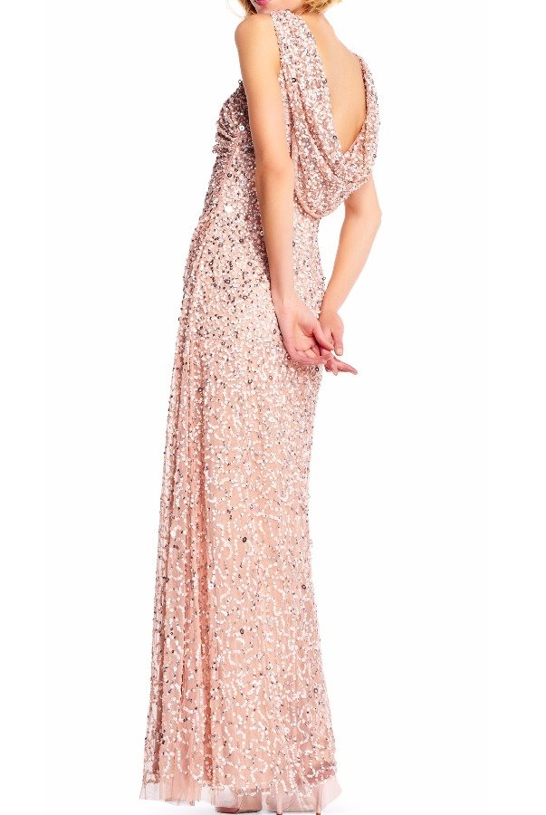 Adrianna Papell Blush Sequin Beaded Gown Cowl Back Dress