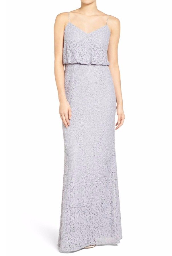 Adrianna Papell  Lace Blouson Gown Light Dove