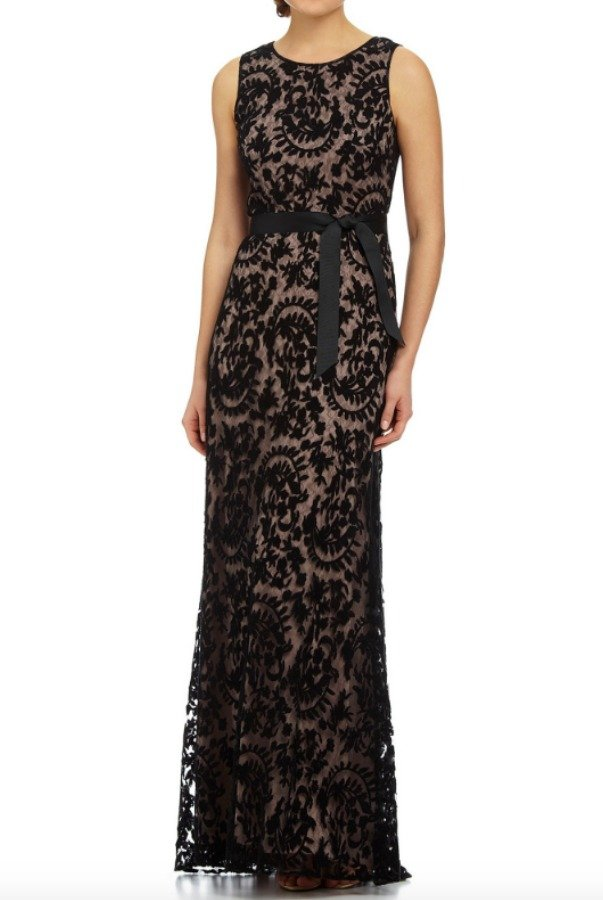 Adrianna Papell Sleeveless Lace Gown Embroidered