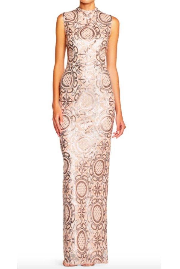 Adrianna Papell Sequin Geometric Applique Column Gown Blush