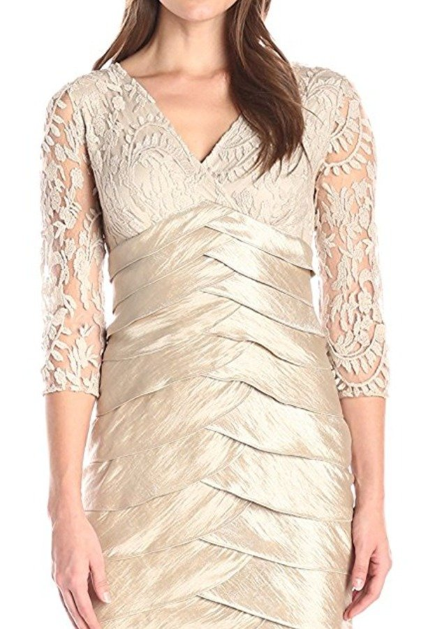 Adrianna Papell Long Shutter Pleat Shimmer Dress Lace Bodice
