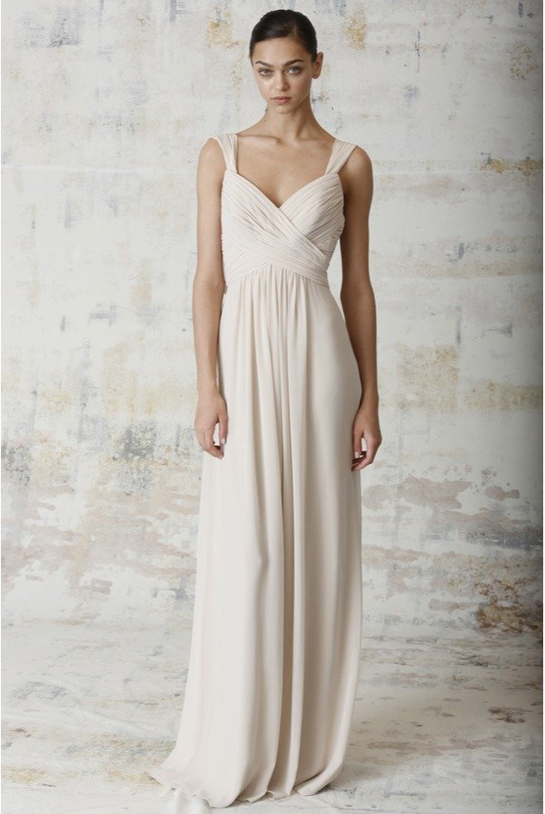 Monique  Lhuillier 450231 Champagne  Bridesmaid Gown Slim A Line