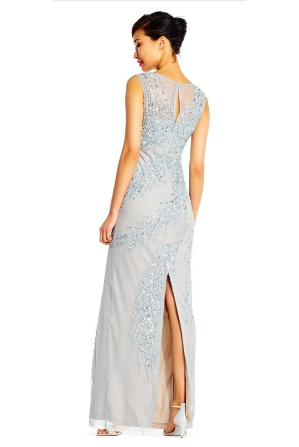 Adrianna Papell Beaded Gown Heather blue silver
