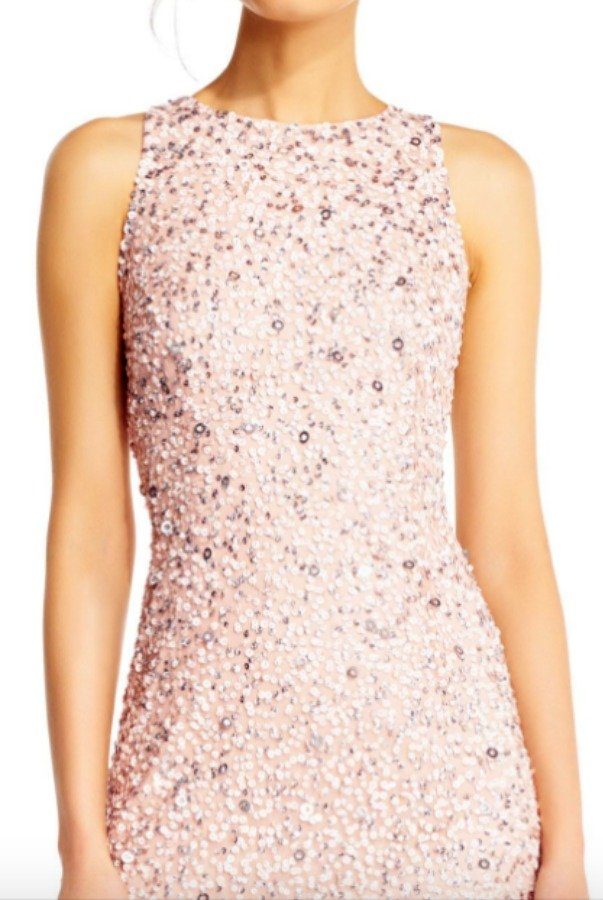 Adrianna Papell High Low Sequin Beaded Halter Gown Dress in Blush