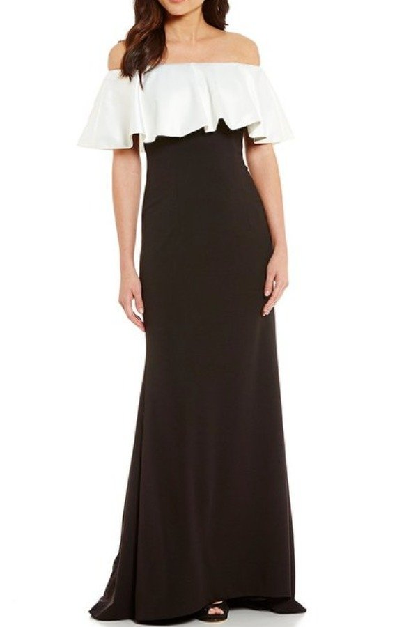 Adrianna Papell Off shoulder Evening Gown Black & Ivory Dress