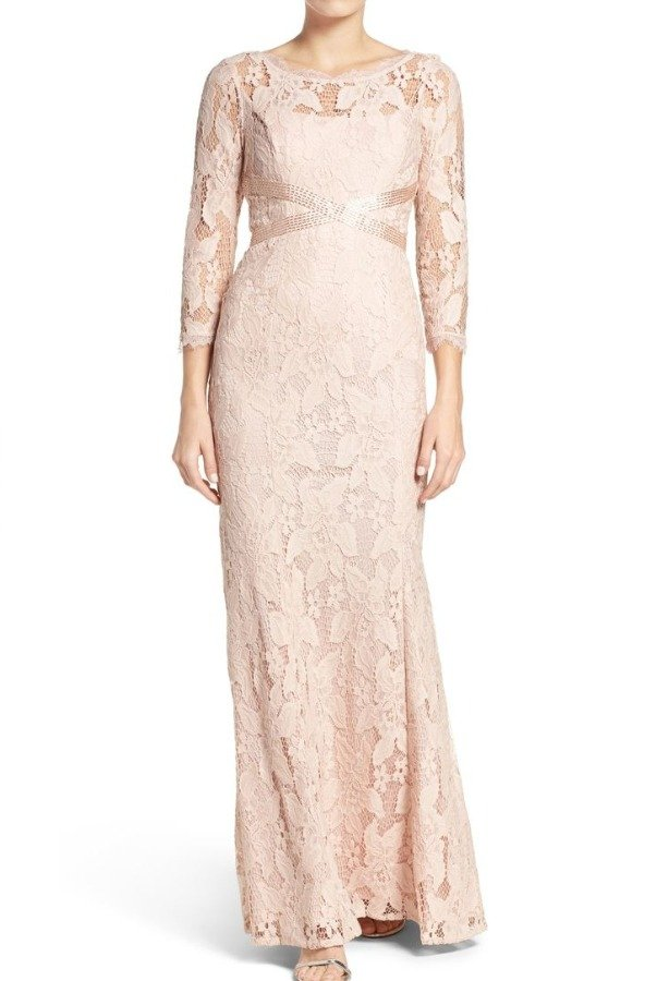 Adrianna Papell Blush Illusion Yoke Lace Long Sleeve Gown 2