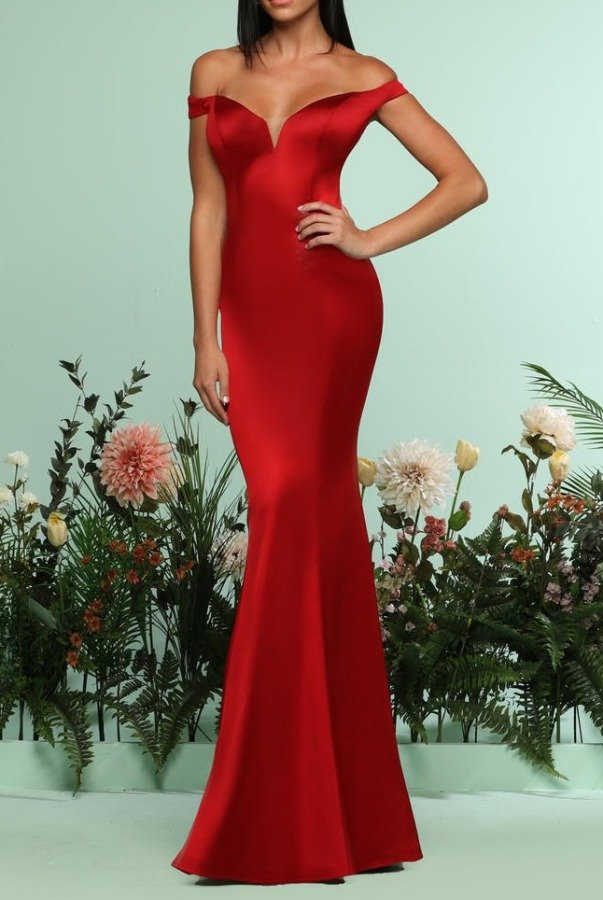 Zoey Grey Red Off Shoulder Silky Long Mermaid Evening Gown | Poshare